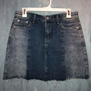 Two toned, denim mini skirt